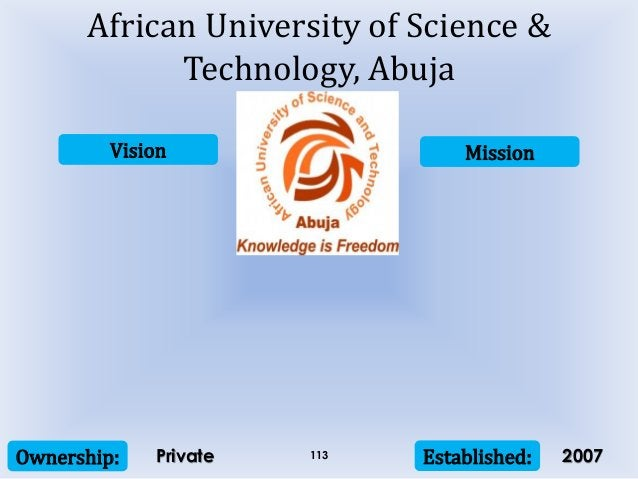 Vision Mission Ownership: Established:113 African University of Science & Technology, Abuja Private 2007