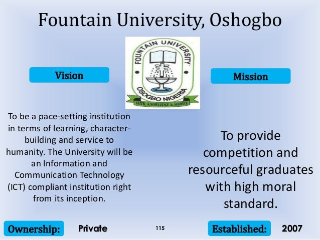 Vision Mission Ownership: Established:115 To be a pace-setting institution in terms of learning, character- building and s...