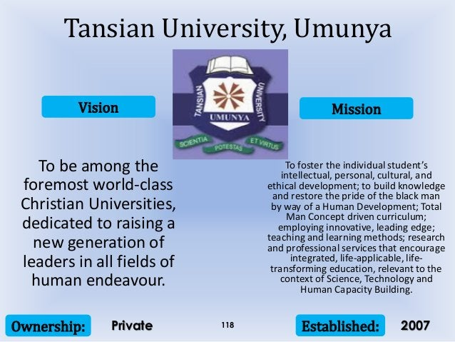 Vision Mission Ownership: Established:118 To be among the foremost world-class Christian Universities, dedicated to raisin...