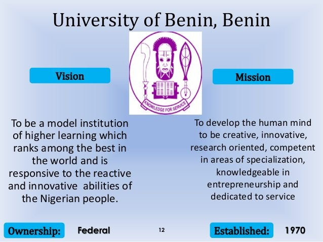 Vision Mission Ownership: Established:12 To be a model institution of higher learning which ranks among the best in the wo...
