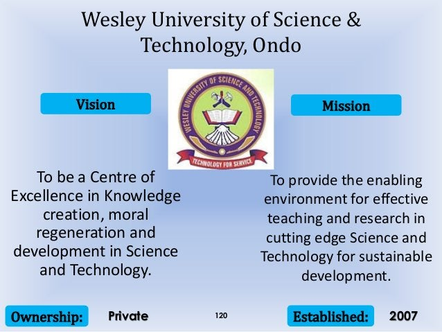 Vision Mission Ownership: Established:120 To be a Centre of Excellence in Knowledge creation, moral regeneration and devel...