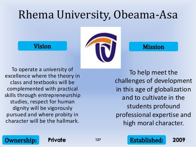 Vision Mission Ownership: Established:127 To operate a university of excellence where the theory in class and textbooks wi...