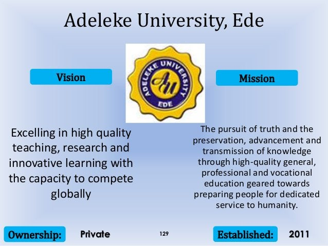 Vision Mission Ownership: Established:129 Excelling in high quality teaching, research and innovative learning with the ca...