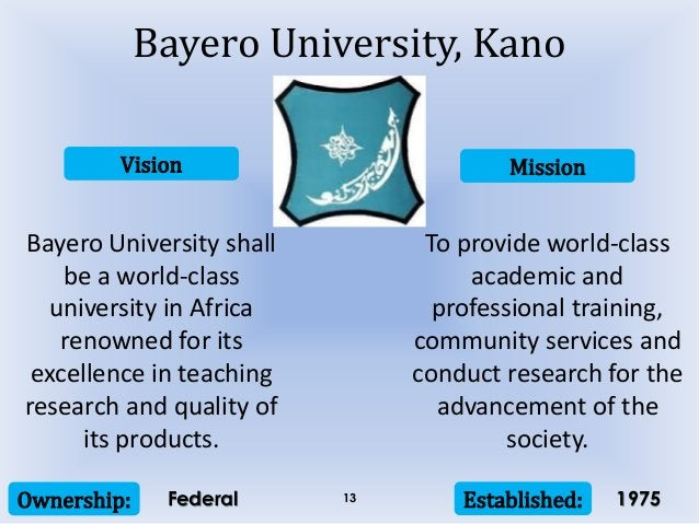 Vision Mission Ownership: Established:13 Bayero University shall be a world-class university in Africa renowned for its ex...