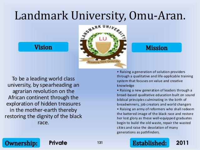 Vision Mission Ownership: Established:131 To be a leading world class university, by spearheading an agrarian revolution o...