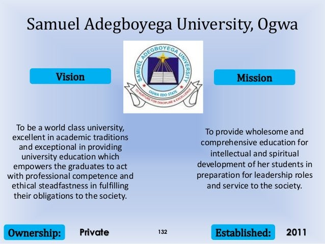 Vision Mission Ownership: Established:132 To be a world class university, excellent in academic traditions and exceptional...