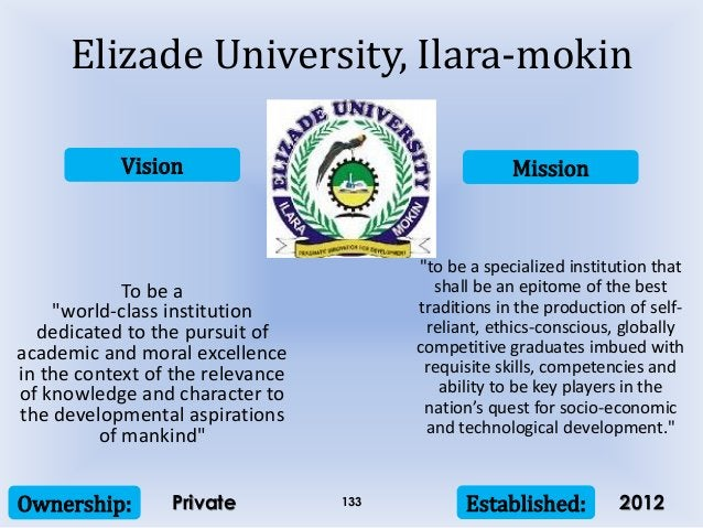 """Vision Mission Ownership: Established:133 To be a """"world-class institution dedicated to the pursuit of academic and moral ..."""