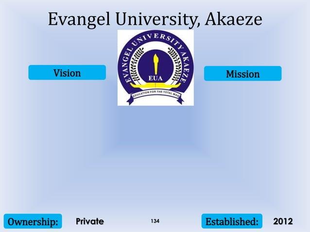 Vision Mission Ownership: Established:134 Evangel University, Akaeze Private 2012