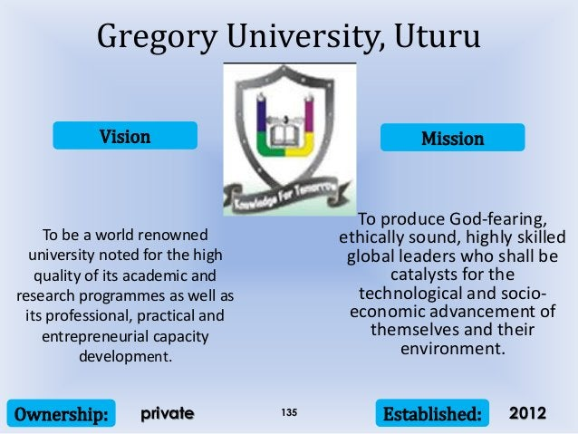 Vision Mission Ownership: Established:135 To be a world renowned university noted for the high quality of its academic and...
