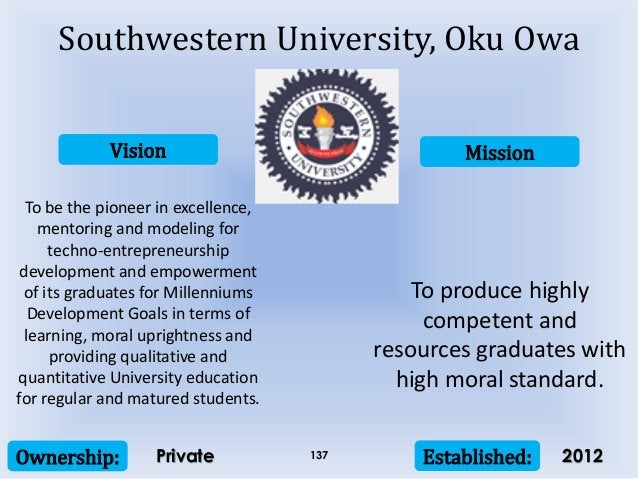 Vision Mission Ownership: Established:137 To be the pioneer in excellence, mentoring and modeling for techno-entrepreneurs...