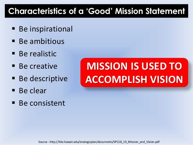 Characteristics of a 'Good' Mission Statement  Be inspirational  Be ambitious  Be realistic  Be creative  Be descript...