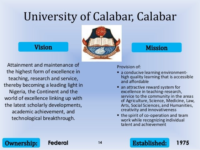 Vision Mission Ownership: Established:14 Attainment and maintenance of the highest form of excellence in teaching, researc...