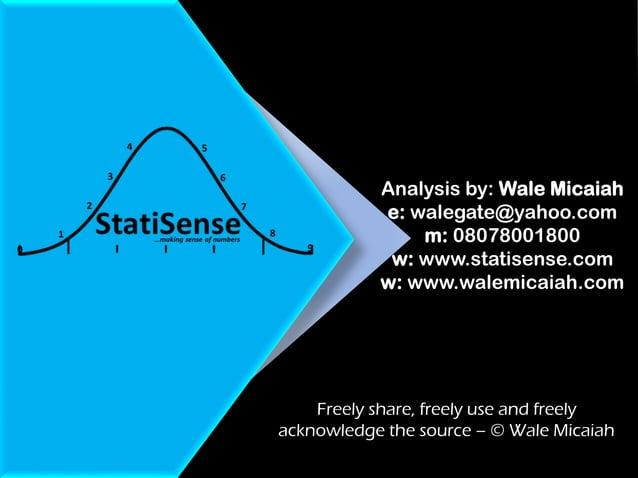 Analysis by: Wale Micaiah e: walegate@yahoo.com m: 08078001800 w: www.statisense.com w: www.walemicaiah.com Freely share, ...