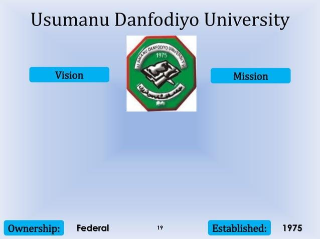 Vision Mission Ownership: Established:19 Usumanu Danfodiyo University Federal 1975