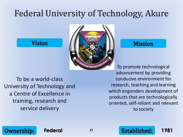 Vision Mission Ownership: Established:21 To be a world-class University of Technology and a Centre of Excellence in traini...