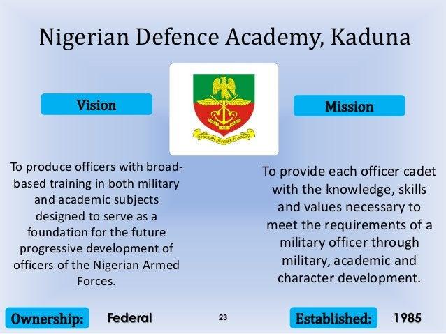 Vision Mission Ownership: Established:23 To produce officers with broad- based training in both military and academic subj...