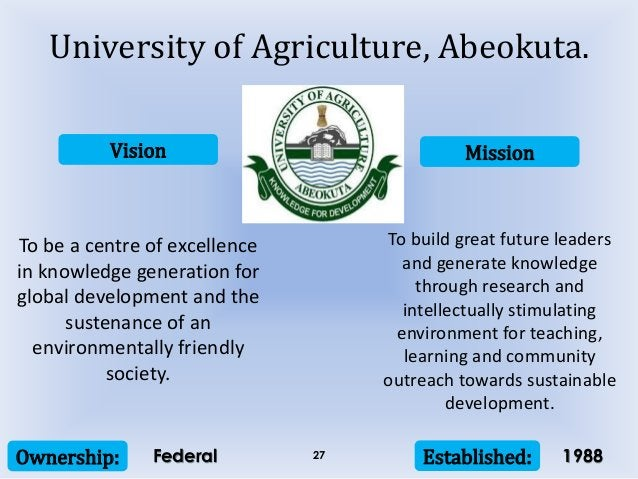Vision Mission Ownership: Established:27 To be a centre of excellence in knowledge generation for global development and t...