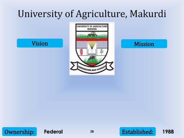 Vision Mission Ownership: Established:28 University of Agriculture, Makurdi Federal 1988