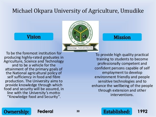 Vision Mission Ownership: Established:30 To be the foremost institution for producing highly-rated graduates in Agricultur...