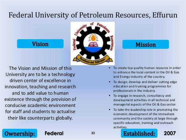 Vision Mission Ownership: Established:33 The Vision and Mission of this University are to be a technology driven center of...