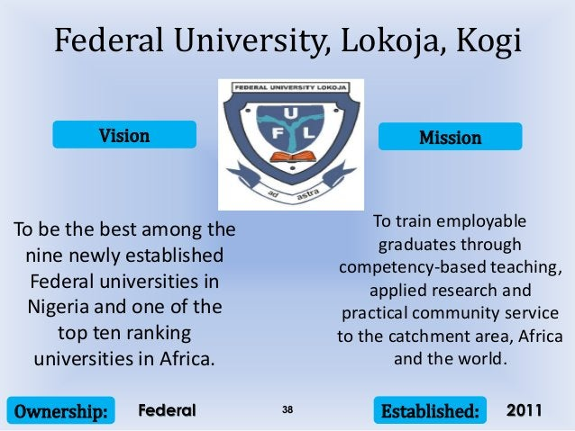 Vision Mission Ownership: Established:38 To be the best among the nine newly established Federal universities in Nigeria a...