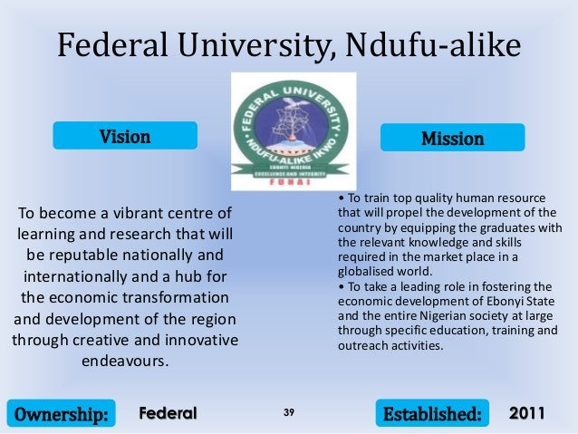 Vision Mission Ownership: Established:39 To become a vibrant centre of learning and research that will be reputable nation...