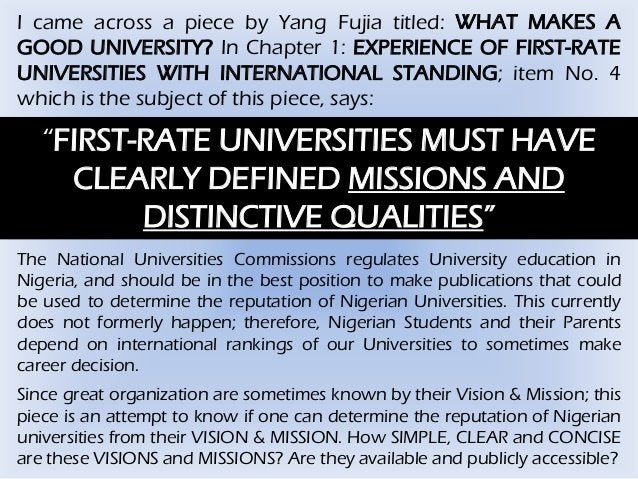 I came across a piece by Yang Fujia titled: WHAT MAKES A GOOD UNIVERSITY? In Chapter 1: EXPERIENCE OF FIRST-RATE UNIVERSIT...