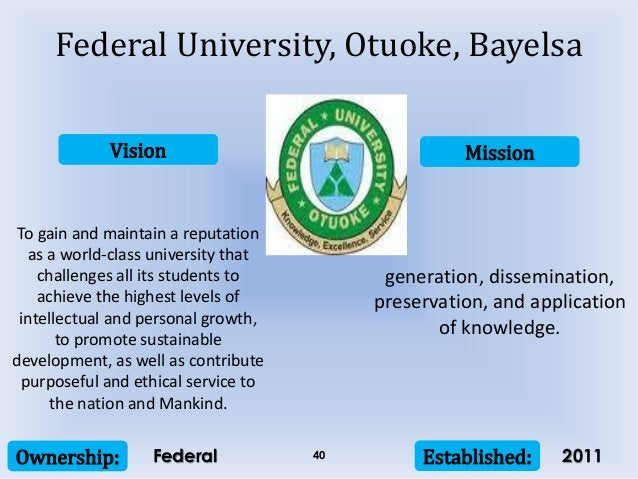 Vision Mission Ownership: Established:40 To gain and maintain a reputation as a world-class university that challenges all...