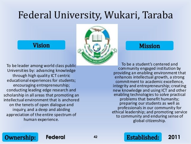Vision Mission Ownership: Established:42 To be leader among world class public Universities by: advancing knowledge throug...