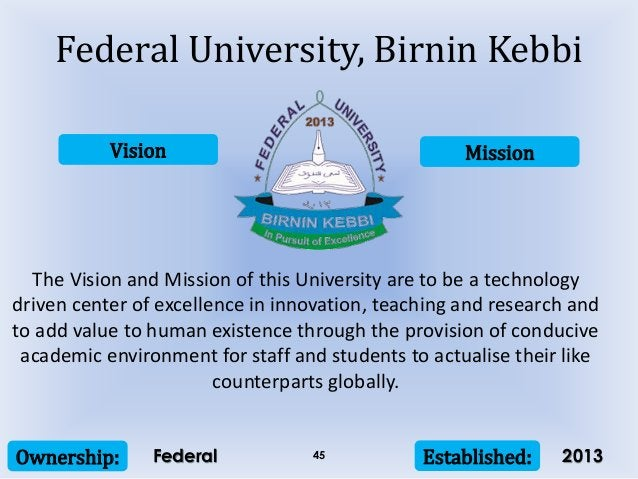 Vision Mission Ownership: Established:45 The Vision and Mission of this University are to be a technology driven center of...