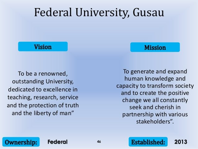 Vision Mission Ownership: Established:46 To be a renowned, outstanding University, dedicated to excellence in teaching, re...