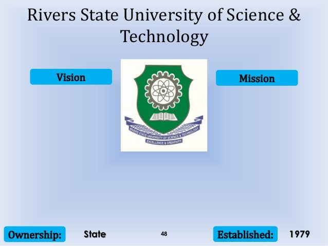 Vision Mission Ownership: Established:48 Rivers State University of Science & Technology State 1979