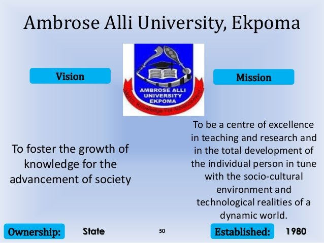 Vision Mission Ownership: Established:50 To foster the growth of knowledge for the advancement of society To be a centre o...