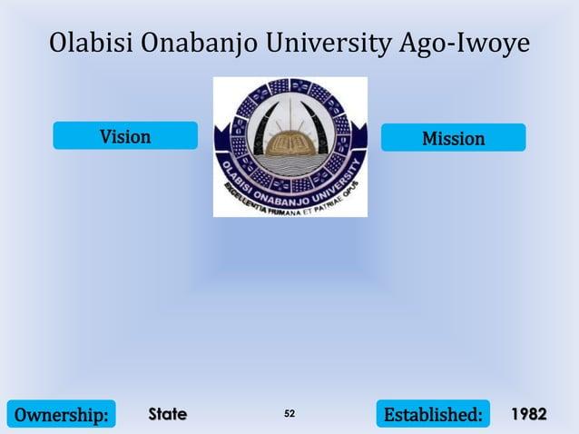 Vision Mission Ownership: Established:52 Olabisi Onabanjo University Ago-Iwoye State 1982