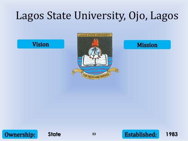 Vision Mission Ownership: Established:53 Lagos State University, Ojo, Lagos State 1983