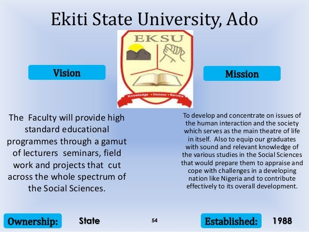 Vision Mission Ownership: Established:54 The Faculty will provide high standard educational programmes through a gamut of ...