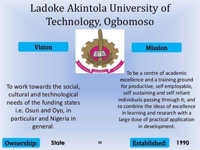 Vision Mission Ownership: Established:55 To work towards the social, cultural and technological needs of the funding state...
