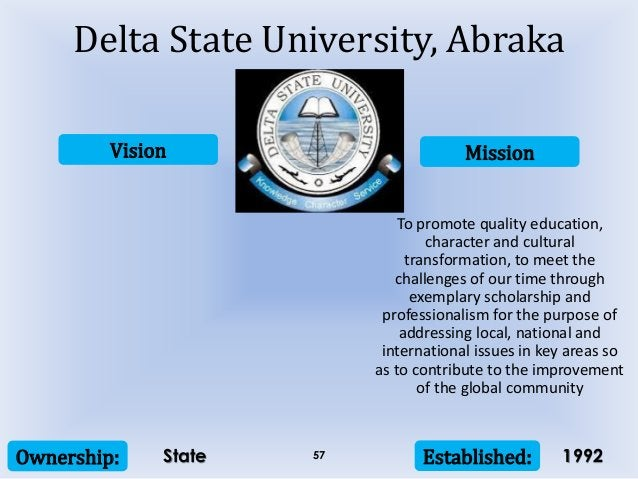 Vision Mission Ownership: Established:57 To promote quality education, character and cultural transformation, to meet the ...
