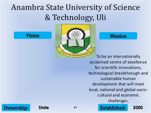 Vision Mission Ownership: Established:61 To be an internationally acclaimed centre of excellence for scientific innovation...