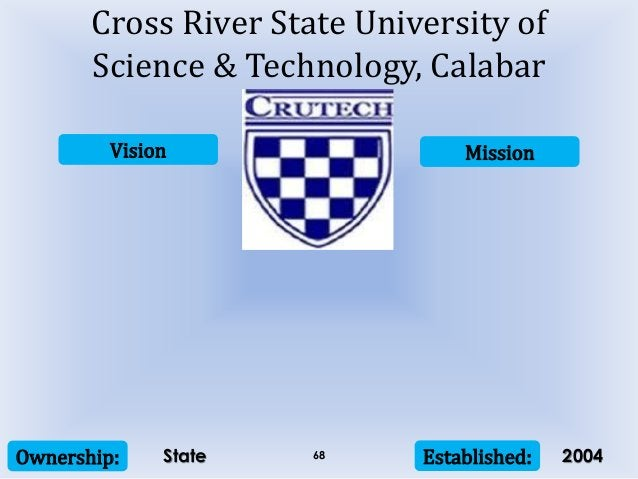 Vision Mission Ownership: Established:68 Cross River State University of Science & Technology, Calabar State 2004