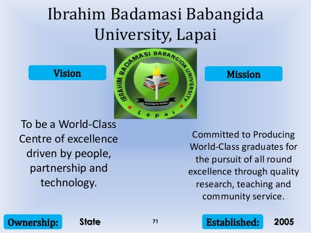 Vision Mission Ownership: Established:71 To be a World-Class Centre of excellence driven by people, partnership and techno...