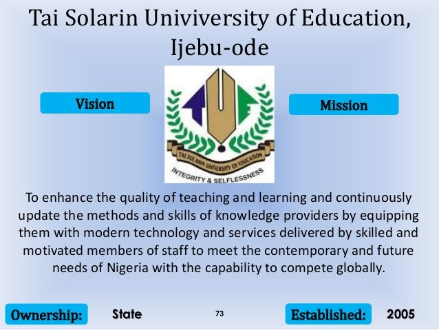 Vision Mission Ownership: Established:73 To enhance the quality of teaching and learning and continuously update the metho...