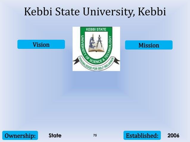 Vision Mission Ownership: Established:75 Kebbi State University, Kebbi State 2006