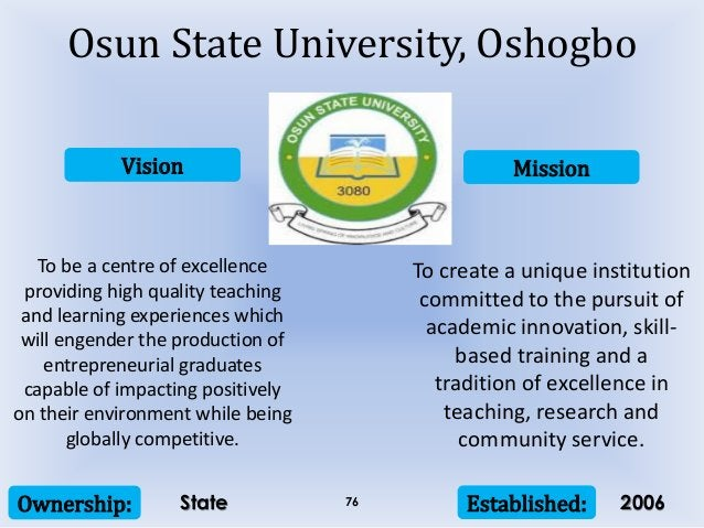 Vision Mission Ownership: Established:76 To be a centre of excellence providing high quality teaching and learning experie...