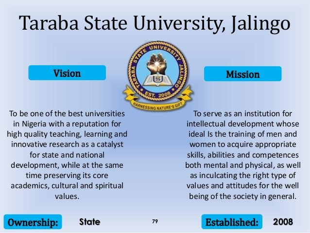 Vision Mission Ownership: Established:79 To be one of the best universities in Nigeria with a reputation for high quality ...