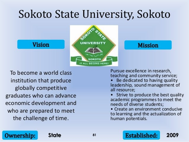 Vision Mission Ownership: Established:81 To become a world class institution that produce globally competitive graduates w...