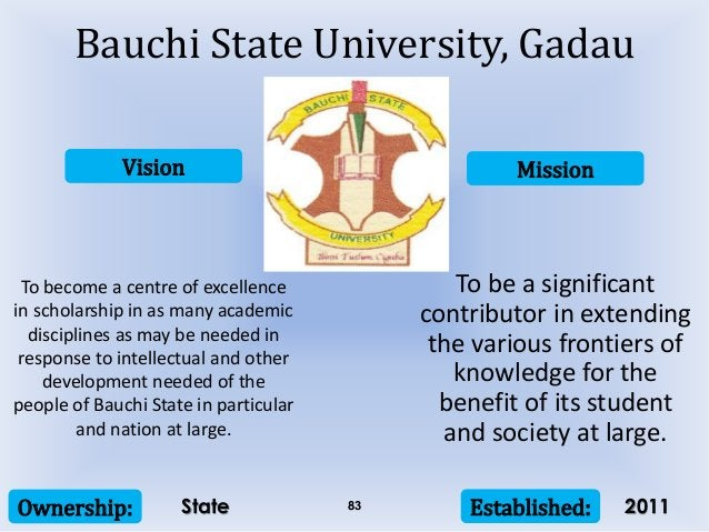 Vision Mission Ownership: Established:83 To become a centre of excellence in scholarship in as many academic disciplines a...