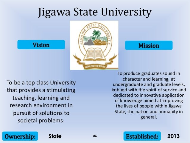 Vision Mission Ownership: Established:86 To be a top class University that provides a stimulating teaching, learning and r...