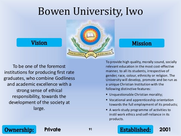 Vision Mission Ownership: Established:91 To be one of the foremost institutions for producing first rate graduates, who co...
