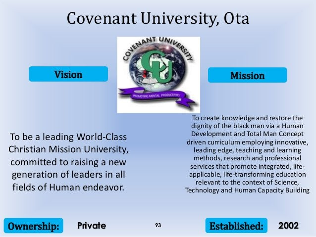 Vision Mission Ownership: Established:93 To be a leading World-Class Christian Mission University, committed to raising a ...